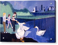 Children And Geese In Central Park 1971 Acrylic Print by Betty Pieper