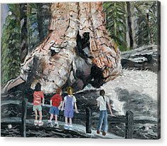 Children At Sequoia National Park Acrylic Print by Quwatha Valentine