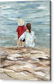 Children By The Sea  Acrylic Print by Nancy Patterson