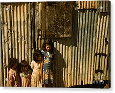 Children In A Company Housing Settlement Acrylic Print by Celestial Images