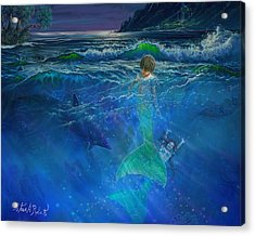 Acrylic Print featuring the painting Children Of The Sea by Steve Roberts
