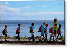 Children On Lake Walk Acrylic Print