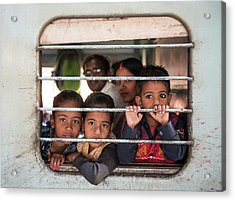 Acrylic Print featuring the photograph Children On The Train by Michalakis Ppalis