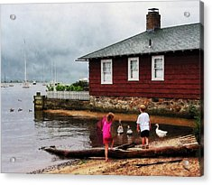 Acrylic Print featuring the photograph Children Playing At Harbor Essex Ct by Susan Savad