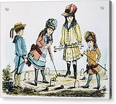 Children Playing Croquet Acrylic Print by Granger