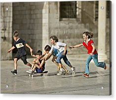 Children Playing In Dubrovnik Acrylic Print by Herbert A. Franke