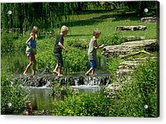 Children Playing In The Deer Lake Riffles Acrylic Print by Garry McMichael