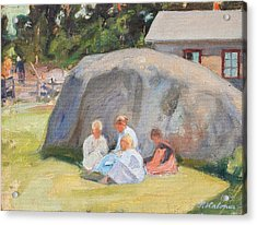 Children Playing In The Yard Acrylic Print