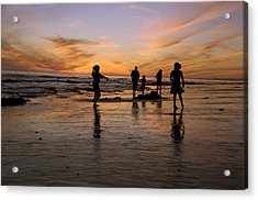 Children Playing On The Beach At Sunset Acrylic Print by James Forte