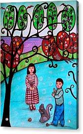 Children Playing Acrylic Print by Pristine Cartera Turkus