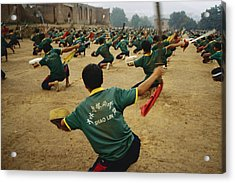 Children Practice Kung Fu In A Field Acrylic Print by Justin Guariglia