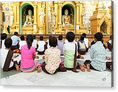 Acrylic Print featuring the photograph Children Pray At Shwedagon Pagoda by Dean Harte