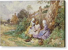 Children Reading Beside A Country Lane Acrylic Print by Myles Birket Foster