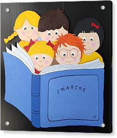 Children Reading Book Acrylic Print