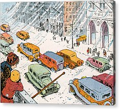 Children Watching City Traffic In A Snowstorm Acrylic Print by American School