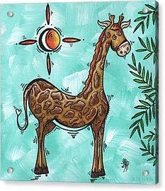 Childrens Nursery Art Original Giraffe Painting Playful By Madart Acrylic Print by Megan Duncanson