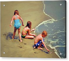Childrens Shell Hunting At The Beach Acrylic Print by Sandi OReilly