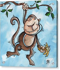 Childrens Whimsical Nursery Art Original Monkey Painting Monkey Buttons By Madart Acrylic Print by Megan Duncanson