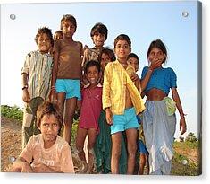 Childrens...enjoying Acrylic Print by Sandeep Khanwalkar