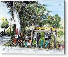 Acrylic Print featuring the painting Chili Hills Mail Boxes by Terry Banderas