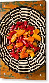 Chili Peppers In Basket  Acrylic Print by Garry Gay