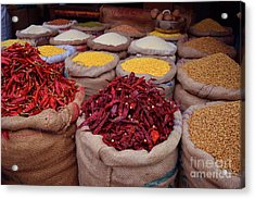 Chilliy Peppers Acrylic Print by Mini Arora