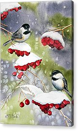 Chilly Chickadees Acrylic Print