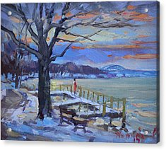 Chilly Sunset In Niagara River Acrylic Print