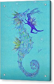 Acrylic Print featuring the drawing Chin Scratching by Dawn Fairies