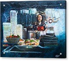 China Kitchen Acrylic Print by Victoria Heryet