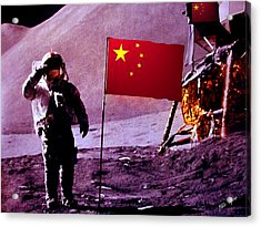 China On The Moon Acrylic Print by Tray Mead