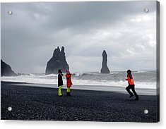 Acrylic Print featuring the photograph China's Tourists In Reynisfjara Black Sand Beach, Iceland by Dubi Roman
