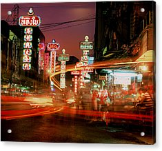 Chinatown In Bangkok Acrylic Print by Brad Rickerby