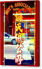 Acrylic Print featuring the photograph Chinatown Window Reflection 1 by Marianne Dow