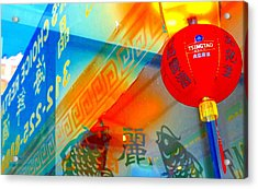 Acrylic Print featuring the photograph Chinatown Window Reflection 3 by Marianne Dow