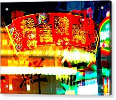 Chinatown Window Reflection 4 Acrylic Print by Marianne Dow