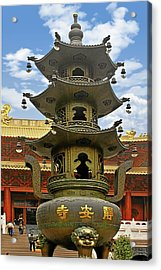 Chinese Ancient Relics - Bronze Cauldron Jing'an Temple Shanghai Acrylic Print by Christine Till