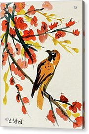 Chinese Bird With Blossoms Acrylic Print