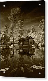 Acrylic Print featuring the photograph Chinese Botanical Garden In California With Koi Fish In Sepia Tone by Randall Nyhof