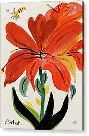 Chinese Brush Work Bee And Flower Acrylic Print