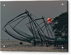 Acrylic Print featuring the photograph Chinese Fishing Nets, Cochin by Marion Galt
