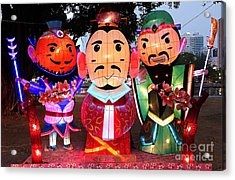 Chinese Lanterns In The Shape Of Three Wise Men Acrylic Print by Yali Shi