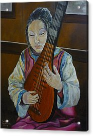 Chinese Lute Player Acrylic Print by Barbi Vandewalle