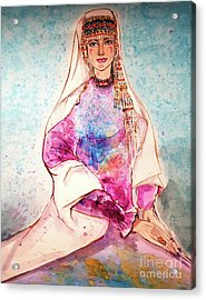 Chinese Minority Woman With Ocean Blue Background Acrylic Print