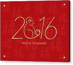 Chinese New Year 2016 Monkey On Red Background Illustration Acrylic Print