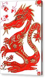 Acrylic Print featuring the drawing Chinese New Year Astrology Dragon by Barbara Giordano