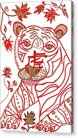 Acrylic Print featuring the drawing Chinese New Year Astrology Tiger by Barbara Giordano
