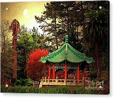 Chinese Pavilion Under Golden Moonlight Acrylic Print