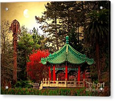 Chinese Pavilion Under Golden Moonlight Acrylic Print by Wingsdomain Art and Photography