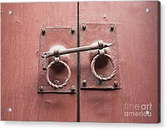 Chinese Red Door With Lock Acrylic Print by Carol Groenen